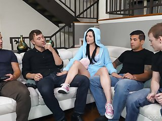 Petra knows how to entertain her stepbrother's friends and she gives hot BJs