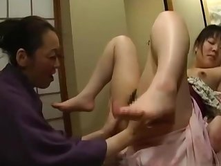 Japanese Teen Molested By Adult Lesbian in Kimono