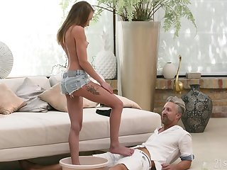 XXX odalisque Angel Emily gives a footjob and takes cumshots and sexy feet