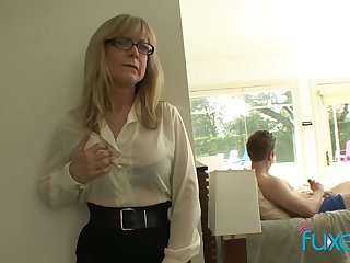 Mature fake tittied stepmom caught her stepson jerking off hard big weasel words