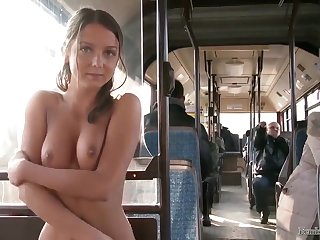 cute babe Foxi Di plunder with a member in public transport