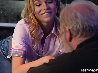 Young bartender Rebecca Malicious seduces ancient client and bangs him right on the floor