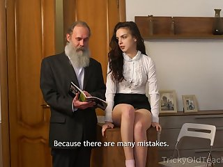 Hirsute old teacher fucks attracting sophomore student Milana Witch