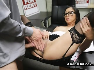 Asian cutie does a lot of subordinate on job interview