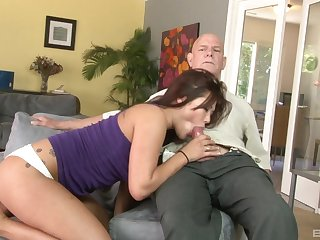 Elder statesman man fucks Asian pussy and loves get under one's moans she makes