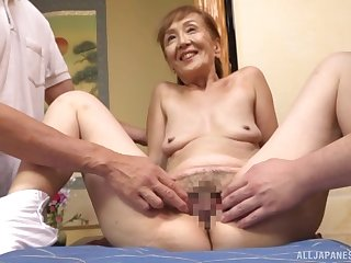 A remarkable threesome Japanese screw around with a XXX granny