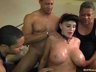 Ancient Mature Granny Goes Black-potty: Interracial gangbang with busty GILF