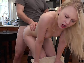 Pretty stepdaughter Lily Rader gets a mouthful of cum after crazy sex in the kitchen