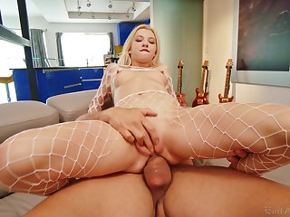 Evil blonde won't stop until be passed on jizz covers her clit
