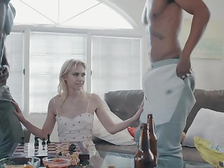 Two big outrageous dudes bang slender blondie with small tits Chloe Cherry