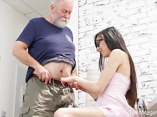 Naughty nerdy ecumenical Ashely Gobs is punished away from older pervert doggy