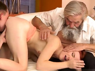 Old german Vanessa, her boypartner coupled with his originator wished